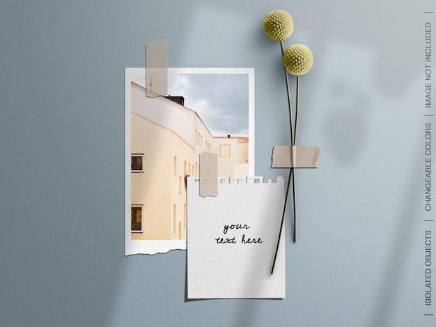 破れた紙の写真カードと花のコラージュ セットをテープで留めた壁のムードボード モックアップ