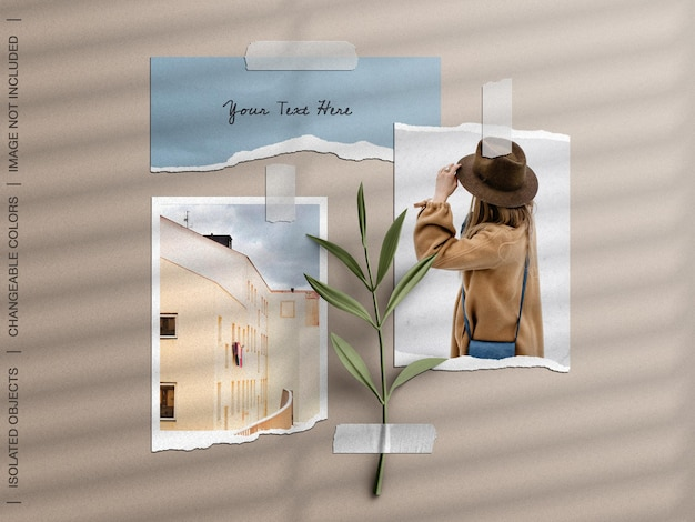 Wall moodboard mockup with taped torn photo frame card collage