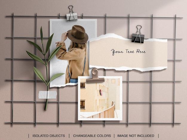 破れた紙の写真と壁のムードボードのモックアップ