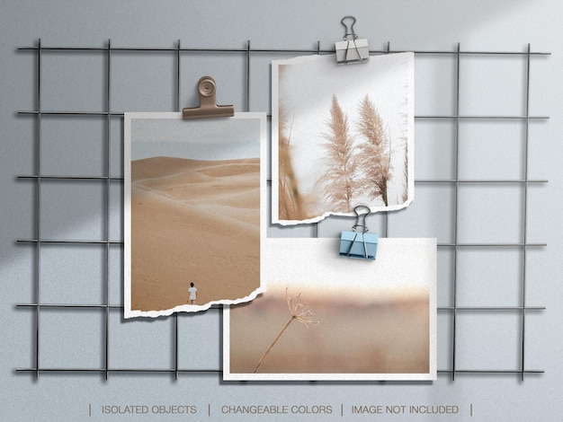 Wall moodboard mockup with torn photo frame