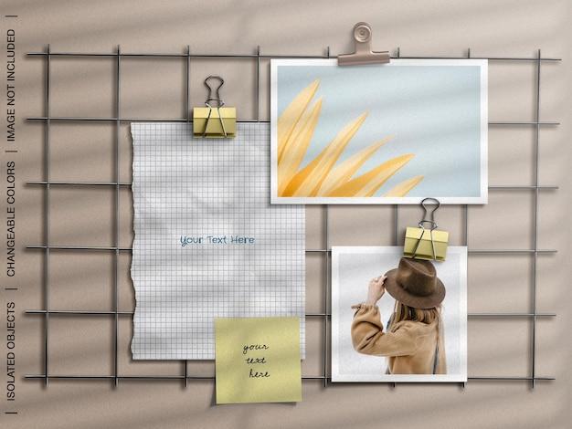 破れた紙の写真カードのコラージュセットと壁のムードボード文房具のモックアップ