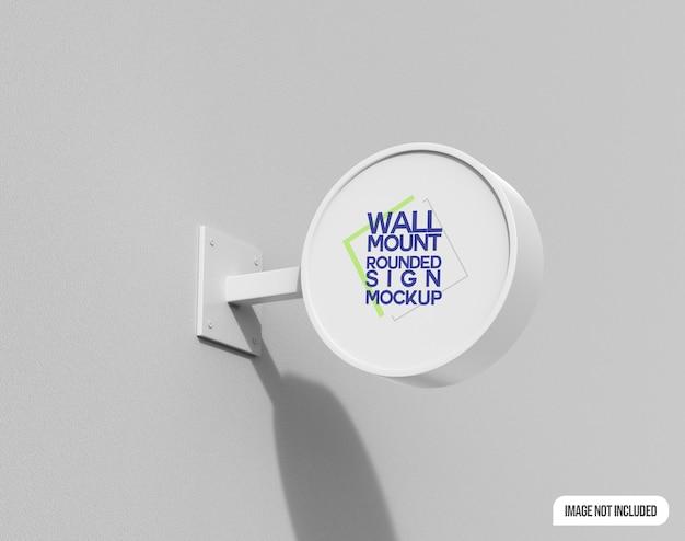 Mockup di cartello arrotondato per montaggio a parete