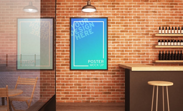 Wall music poster on bar mockup 3d rendering