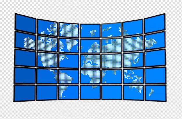 Стена плоских экранов телевизоров