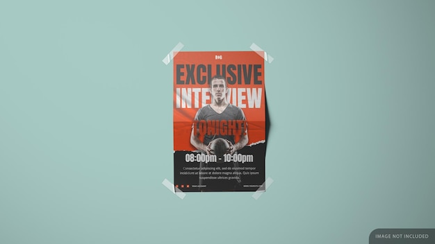 Wall paper printed poster mockup design in 3d rendering with tapes in the corners Premium Psd