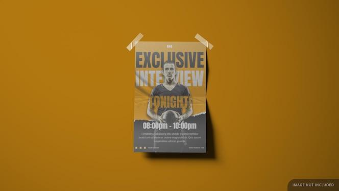 Дизайн макета плаката на обоях в 3d-рендеринге с лентами по углам