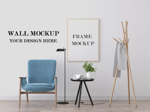 Wall and picture frame mockup in bright beautiful interior