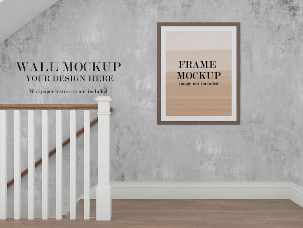 Wall and picture frame mockup in hallway