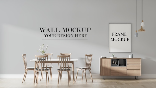 Wall and poster mockup in 3d rendering scene