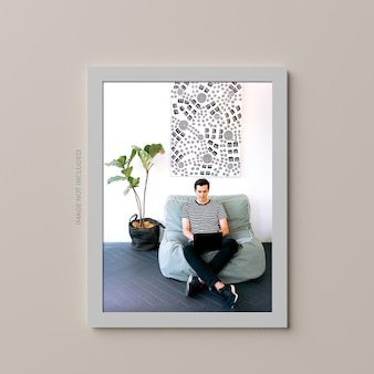 Wall poster mockup design isolated