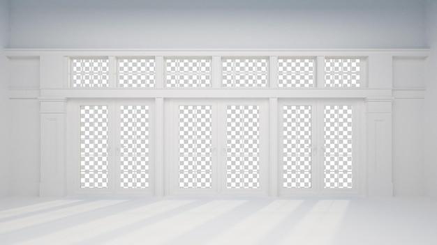 家のリビングルームのレンダリングの壁の部屋のインテリア