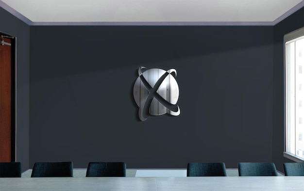 벽 표지판 크롬 로고 목업