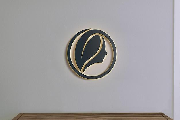 벽 표지판 빛과 검은 색 로고 모형