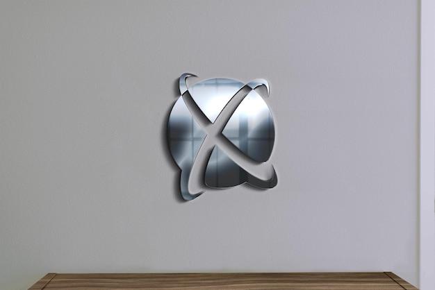 Настенные знаки серебряный логотип мокап