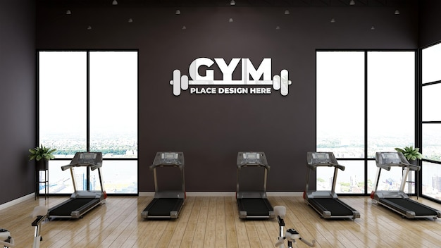 Wall sports logo mockup in modern gym room