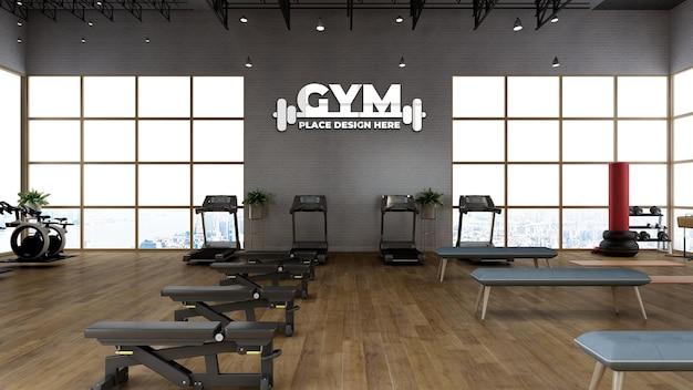 Wall sports logo mockup in the modern gym room