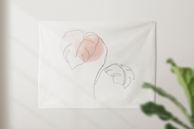 Wall tapestry mockup  hanging on a white wall