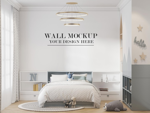 Шаблон стены в милой и современной детской комнате