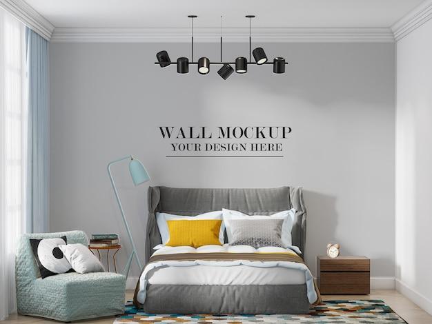 Wall template behind modern high headboard bed