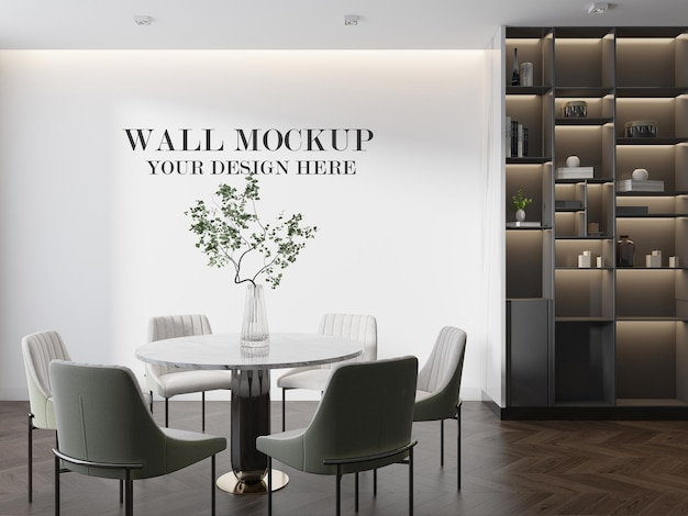 Wall template behind round table