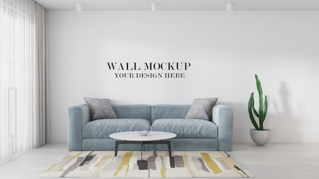 Wall template behind sofa in 3d scene