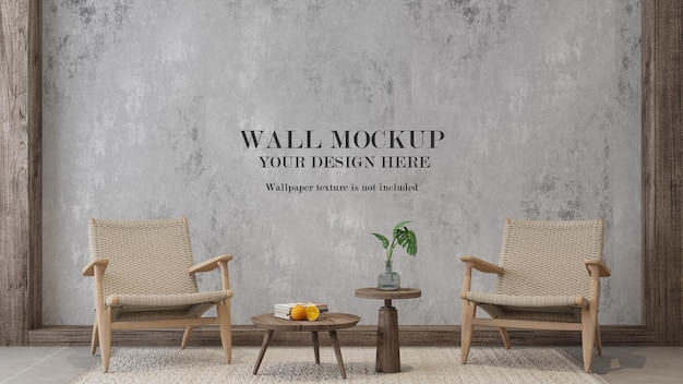 Wall template with rattan furniture in interior
