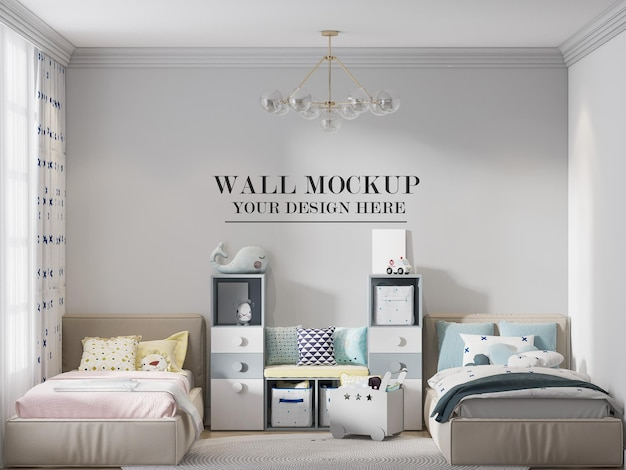 Wall template for your textures in twin bedroom