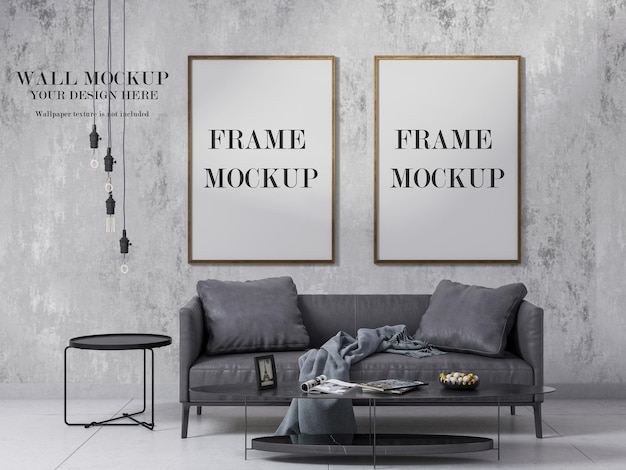 Wall and two wooden frames mockup design