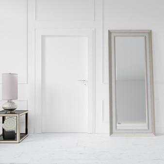 空白のドアとミラーの壁