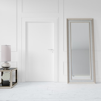Wall with blank door and mirror