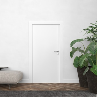 Wall with blank door mockup