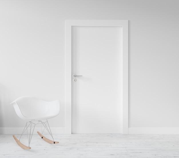 空白のドアのモックアップと壁