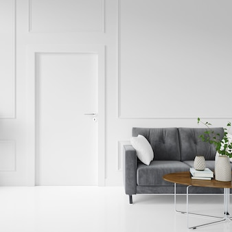 Wall with blank door and sofa