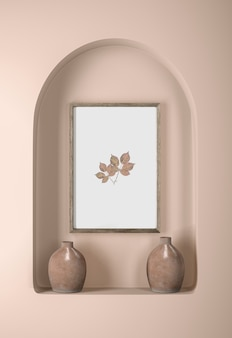 Wall with frame and vases decor