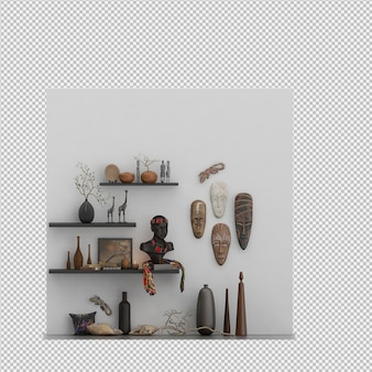 Wall with masks and vases 3d render