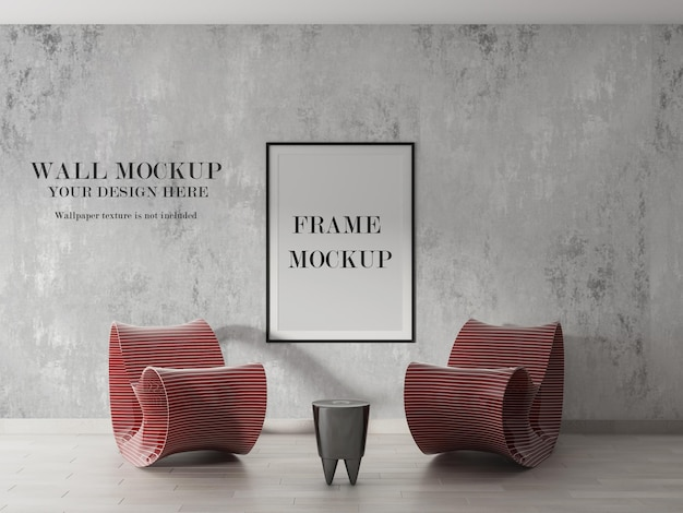 Wall and wooden frame mockup design