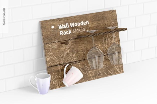 壁の木製ラックモックアップ、傾いた