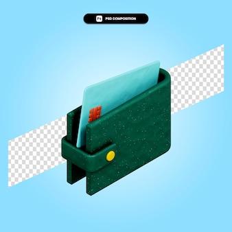Кошелек 3d визуализации изолированных иллюстрация