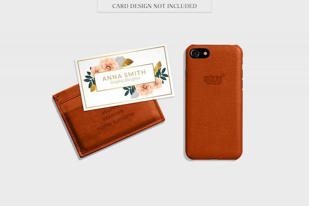 Wallet and smartphone mockup