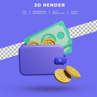 Кошелек с долларовой монетой и деньгами 3d-рендеринга