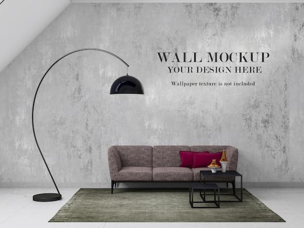 Wallpaper mockup design in interior with large hoop floor lamp