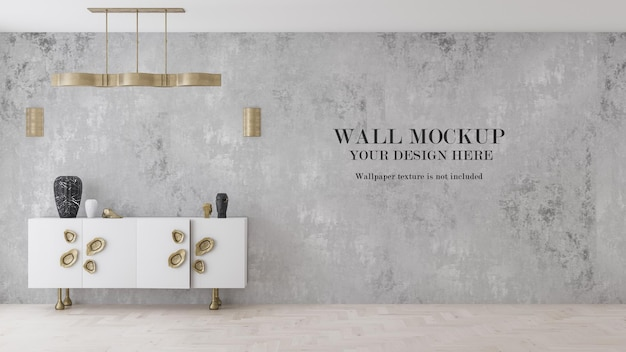 Wallpaper mockup behind gold and white cabinet