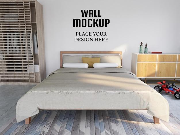 Мокап обоев в современной спальне