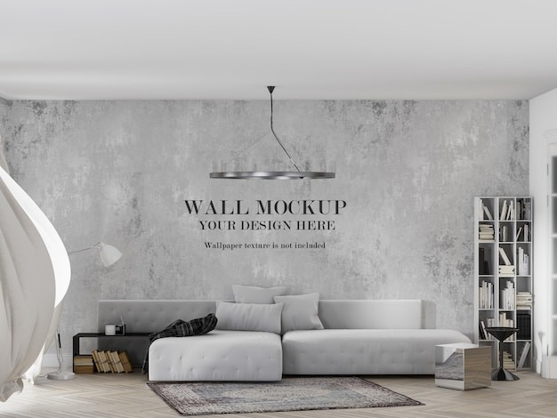Wallpaper mockup in interior with waving curtain