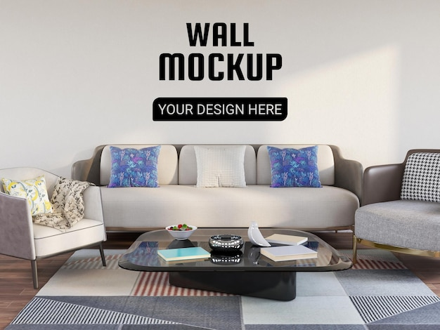 Wallpaper mockup in the living room