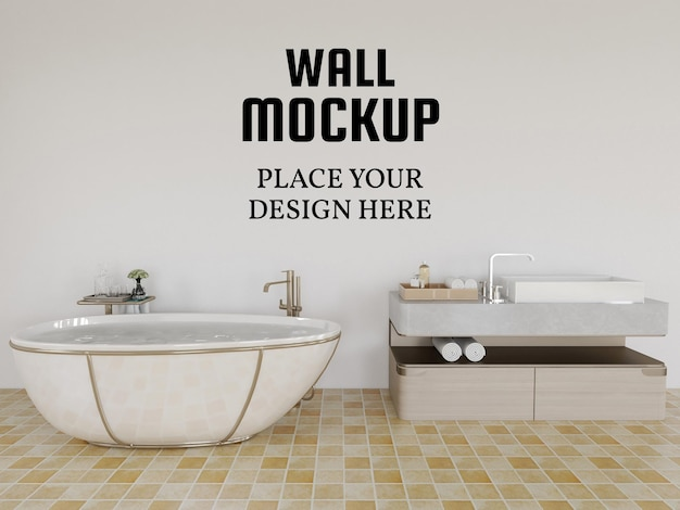Wallpaper mockup in the modern bathroom