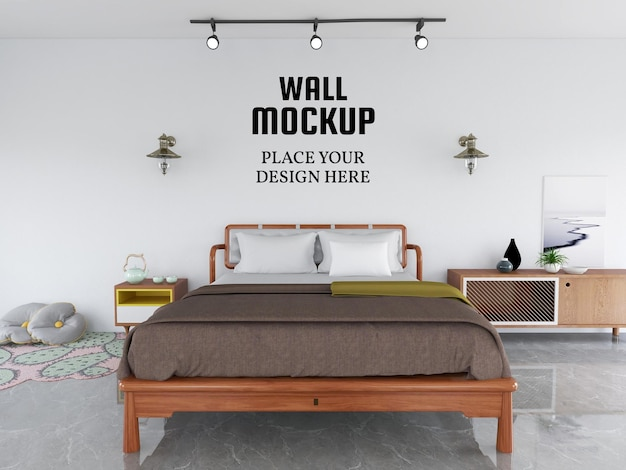 Wallpaper mockup in the modern bedroom