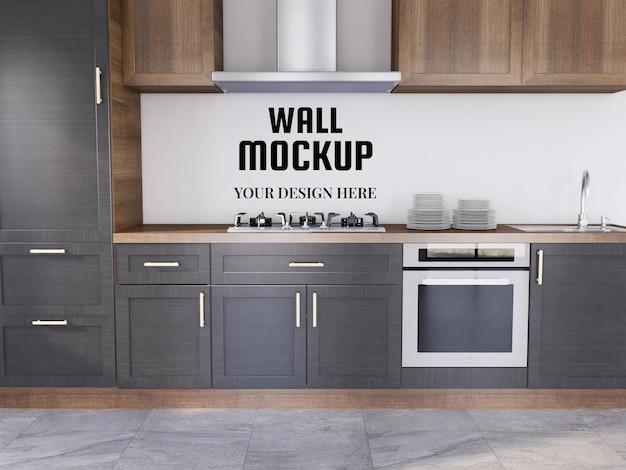 Wallpaper mockup in the modern kitchen