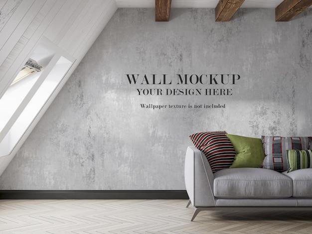 Wallpaper mockup in pleasant attic room