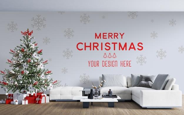 クリスマスツリーとギフトボックスの壁紙のモックアップ